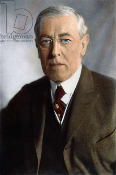 WOODROW WILSON (1856-1924) Oil over a photograph, 1919.