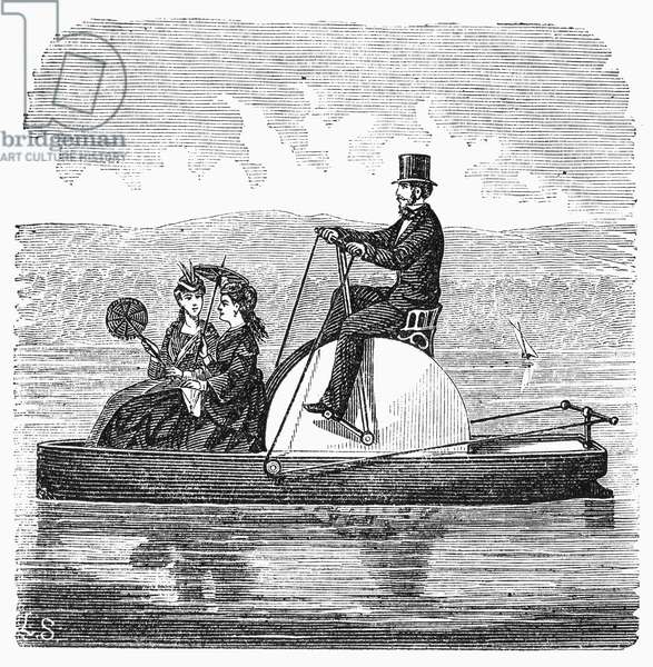 WATER VELOCIPEDE, 1869 A gallant gentleman propelling two ladies on a lake. Wood engraving, American, 1869.