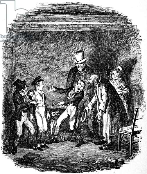 DICKENS: OLIVER TWIST, 1838. 'Oliver's reception by Fagin and the boys.' George Cruikshank's etching for Charles Dickens' 'Oliver Twist,' 1837-1838.
