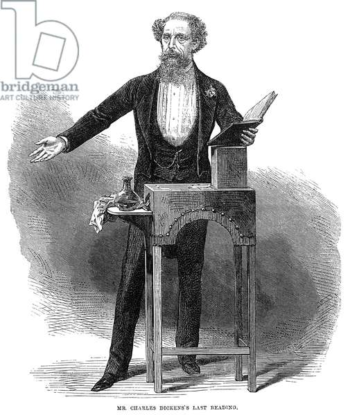 CHARLES DICKENS (1812-1870) English novelist. 'Mr. Charles Dickens's Last Reading.' Wood engraving, English, 1870.