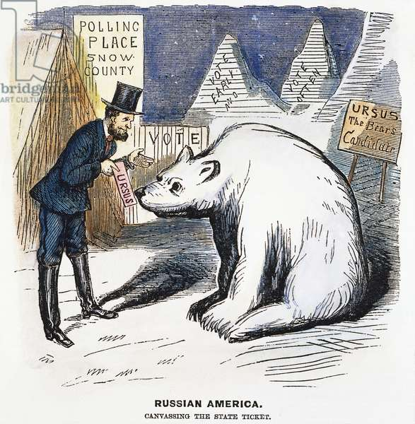 CARTOON: ALASKA PURCHASE, 1867. An American cartoon showing a politician trying to find voters in newly acquired but uninhabited Alaska. Cartoon, 1867.