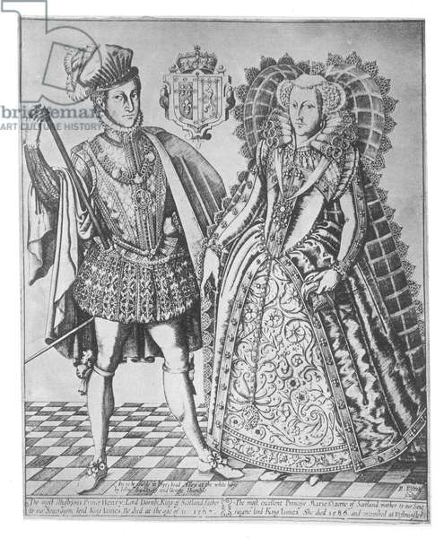 MARY, QUEEN OF SCOTS (1542-1587). With Henry Stewart, Lord Darnley. Line engraving, c.1605, by R. Elstrake.