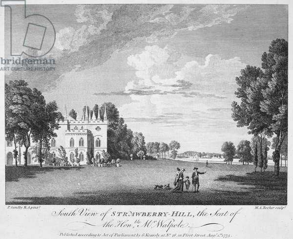WALPOLE HOME, 1775 Strawberry Hill, the residence of Horace Walpole, Fourth Earl of Orford (1717-1797). Copper engraving, 1775, after Paul Sandby.