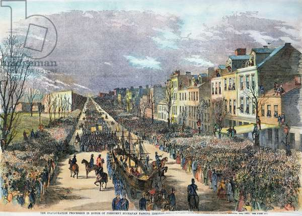 BUCHANAN INAUGURATION The inaugural procession of President James Buchanan along Pennsylvania Avenue, Washington, D.C., on 4 March 1857: contemporary engraving.