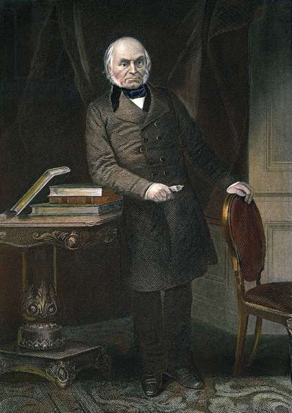 JOHN QUINCY ADAMS (1767-1848). Sixth President of the United States. Engraving after an oil painting by Gerardus Duyckinck, 1861.