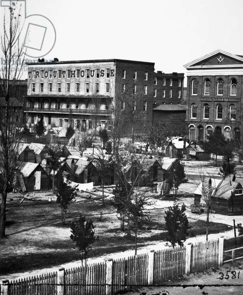 CIVIL WAR: ATLANTA, 1864 Trout House, Masonic Hall, and Federal encampment on Decatur Street, Atlanta, Georgia, 1864. Photograph by George N. Barnard.