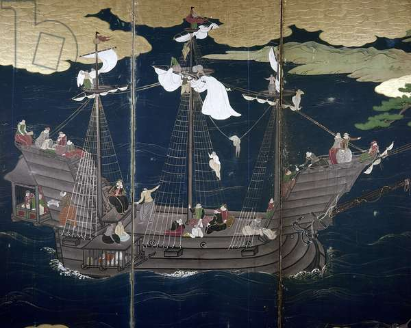 JAPAN: PORTUGUESE SHIP Japanese 'namban' screen, early-16th century.
