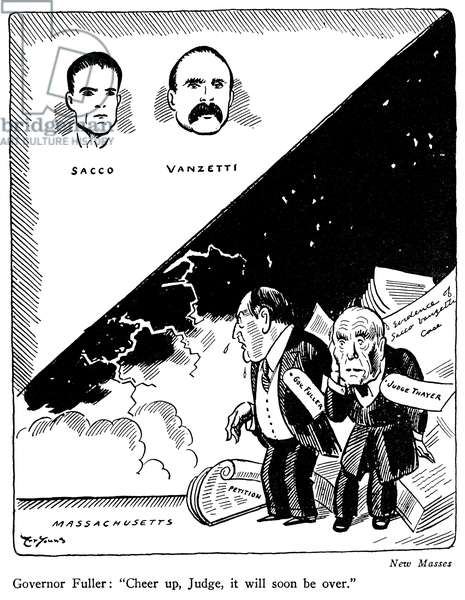 SACCO & VANZETTI CARTOON Art Young's cartoon comment on the Sacco and Vanzetti case from the 'New Masses', 1927.