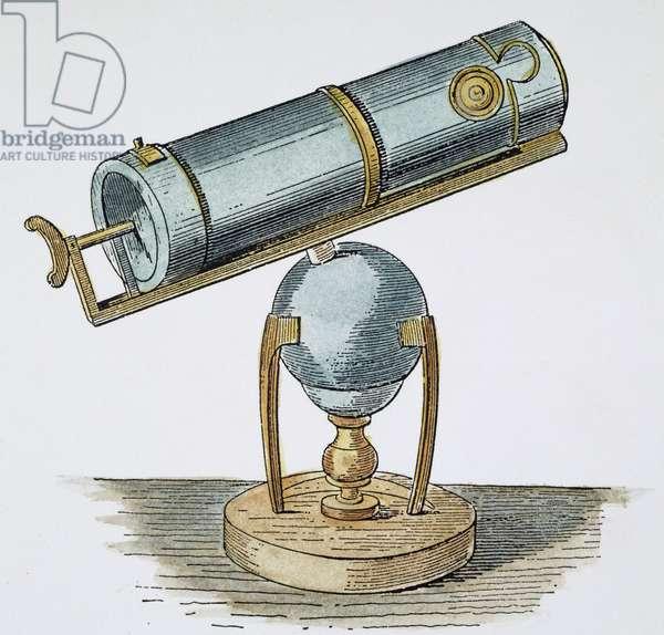 NEWTON'S TELESCOPE, c.1670 Isaac Newton's reflecting telescope, c.1670: line engraving, 19th century.