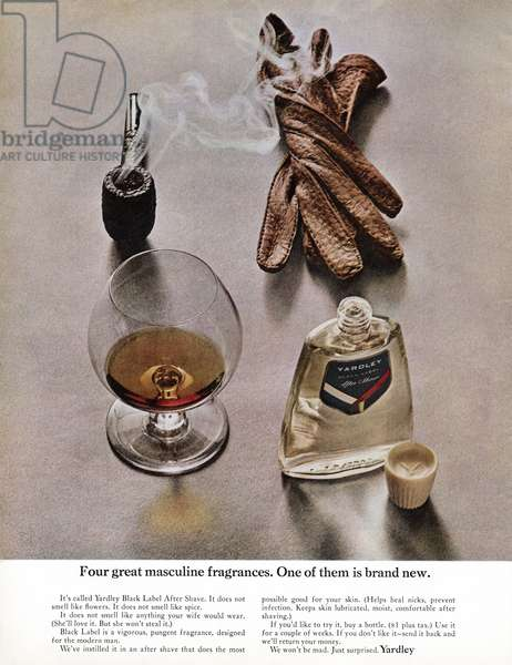 AD: AFTER SHAVE, 1963 American advertisement for Yardley after shave. Photograph, 1963.