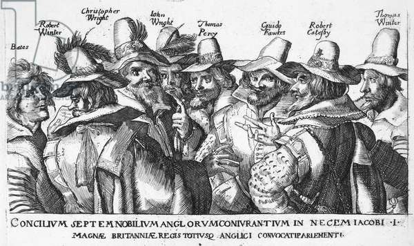 GUY FAWKES (1570-1606) English conspirator. Fawkes (third from right) and the 'Gunpowder Plot' conspirators. Etching, 1605.
