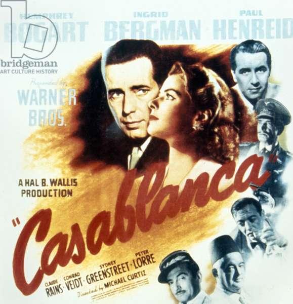 CASABLANCA, 1942 American poster for the film 'Casablanca,' 1942, featuring stars Humphrey Bogar and Ingrid Bergman.