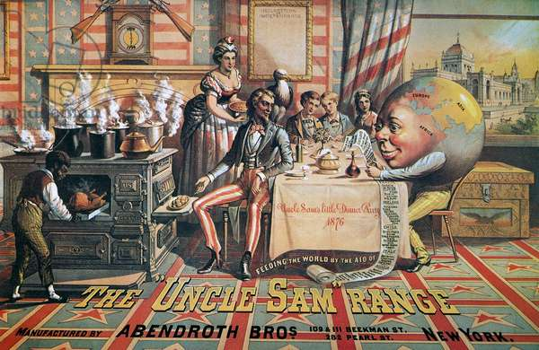 UNCLE SAM RANGE AD, 1876 An 1876 American advertising poster for the 'Uncle Sam' Range.