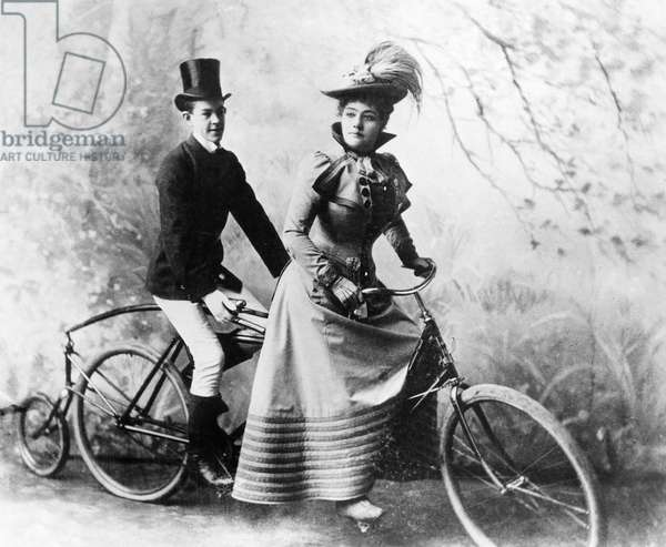 BICYCLING American actress Rose Coghland and friend, c.1885.