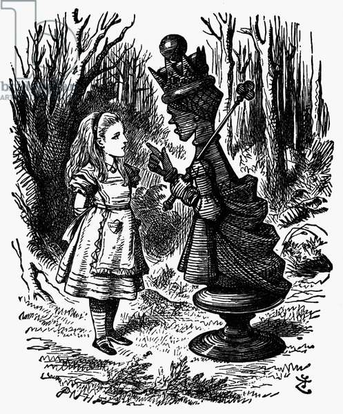 CARROLL: LOOKING GLASS Alice and the Red Queen. Wood engraving after Sir John Tenniel for the first edition of Lewis Carroll's 'Through the Looking Glass,' 1872.