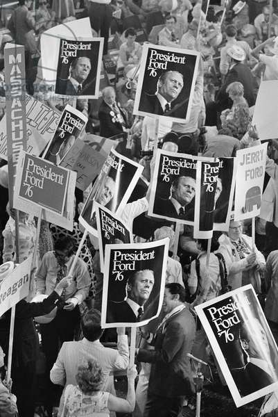 PRESIDENTIAL CAMPAIGN, 1976 Delegates supporting President Gerald Ford demonstrating on the floor of the Republican National Convention in Kansas City, Missouri, August 1976. Photographed by John T. Bledsoe.