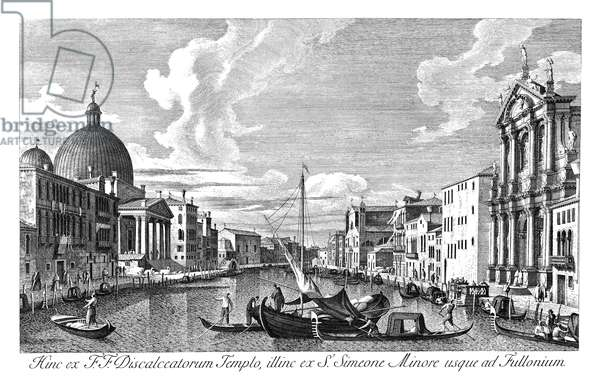 VENICE: GRAND CANAL, 1735 The Grand Canal in Venice, Italy looking from Chiesa degli Scalzi to Fondamenta della Croce. Engraving, 1735, by Antonio Visentini after Canaletto.