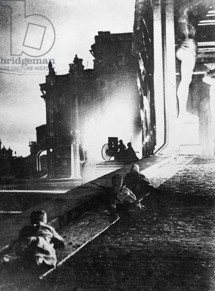 RUSSIAN REVOLUTION, 1917 Bolshevik attack on the Winter Palace, 1917. Photographer unknown.