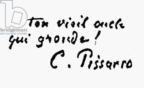 CAMILLE PISSARRO (1830-1903) French painter. Autograph signature.