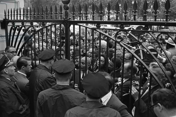 VIETNAM WAR PROTEST, 1967 Vietnam War protestors, including Dr. Benjamin Spock and Coretta Scott King outside the White House gates in Washington D.C. Photograph by Robert Knudsen, 17 May 1967.