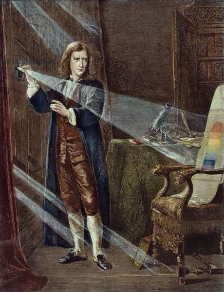 SIR ISAAC NEWTON (1642-1727) English physicist and mathematician. Dispersing sunlight through a prism, c.1666. Wood engraving, 19th century.