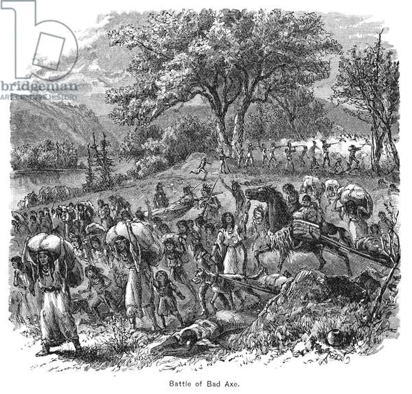 BLACK HAWK WAR, 1832 The defeat of the Sauk and Fox Native Americans under Black Hawk by an American mixed force militia and regular infantry led by General Henry Atkinson at the mouth of the Bad Axe River, Wisconsin, 2 August 1832. Wood engraving, 19th century.