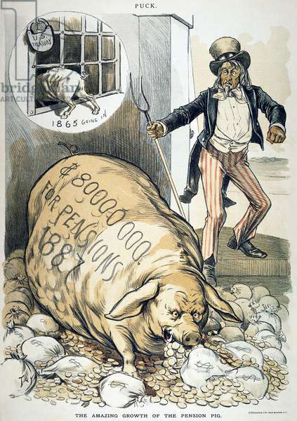 CIVIL WAR PENSIONS, 1888 'The Amazing Growth of the Pension Pig.' American cartoon by C. Jay Taylor, 1888, on the huge increase in the cost of Civil War pensions.