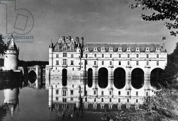 CHATEAU DE CHENONCEAU The early 16th century Renaissance castle spanning the Cher River in the Loire Valley, France. Photograph, mid-20th century.