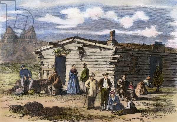 MORMON FAMILY A Mormon family near Salt Lake City. Wood engraving, French, 1871.