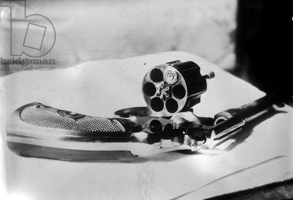 REVOLVER, 1912 Revolver used by John Flammang Schrank in an attempted assassination of former president Theodore Roosevelt on 14 October 1912, in Milwaukee, Wisconsin.