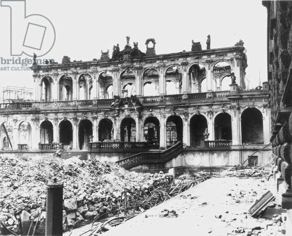 WORLD WAR II: DRESDEN Remains of the Zwinger Art Galleries in Dresden, Germany, the result of the Allied bombing raids of World War II, 1946.