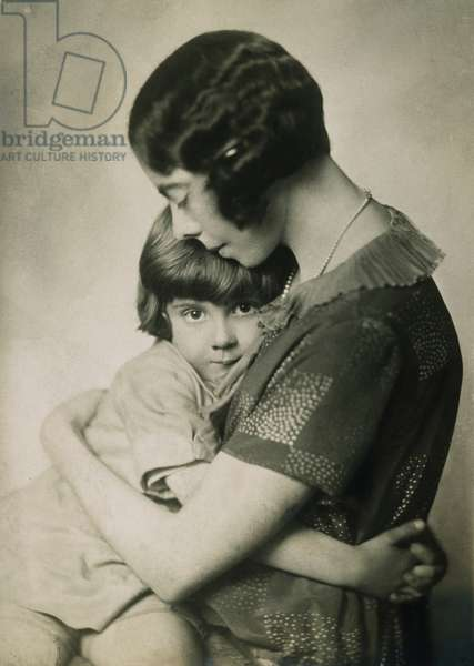 CHRISTOPHER ROBIN MILNE (b.1920) at age four or five, with his mother, Mrs. A.A. Milne.