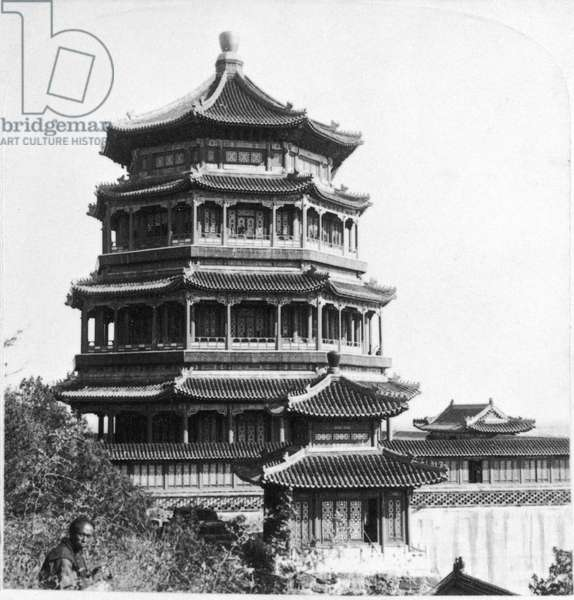 PEKING: PORCELAIN TOWER Porcelain tower on the grounds of the Summer Palace, in Peking, China. Stereograph, 1901.