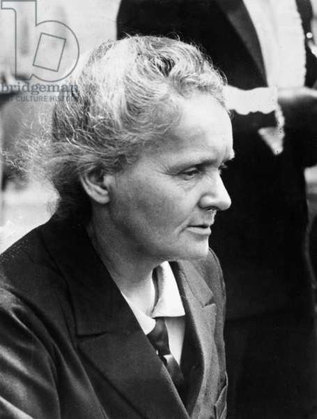 MARIE CURIE (1867-1934) Marie Sklodowska Curie. French (Polish-born) chemist. Photograph, 1934.