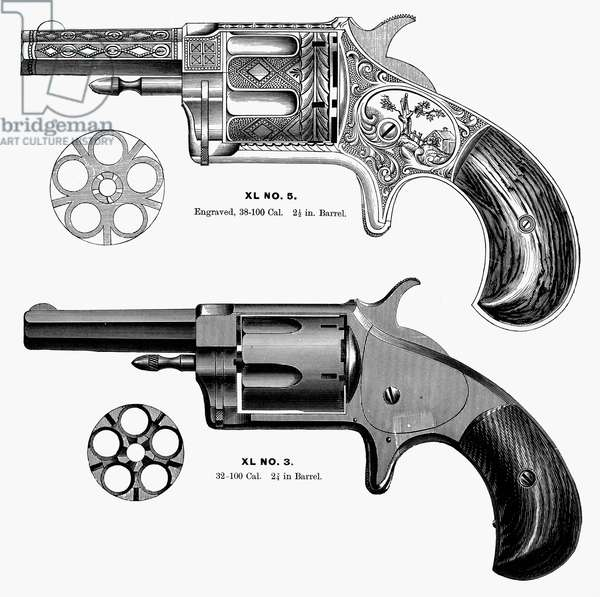 REVOLVERS, 19th CENTURY Two revolvers manufactured by the American company Merwin, Hulbert and Co. Line engraving, 1870s or 1880s.