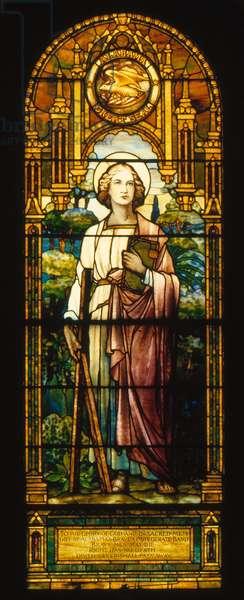 STAINED GLASS: ST ANDREW St Andrew stained glass window by the Tiffany Studio, c.1908, in Blandford Church, Petersburg, Virginia.
