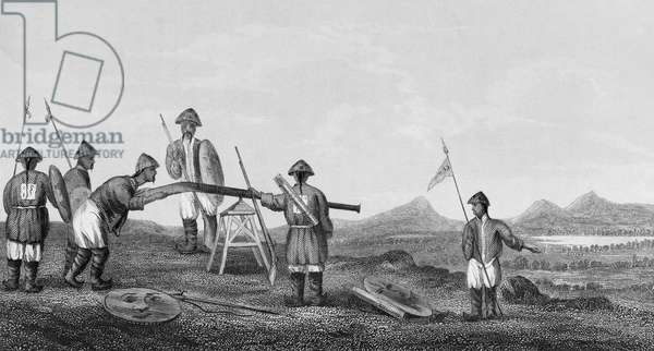 CHINA: FIRST OPIUM WAR 'Chinese Soldiers with Gingals' during the First Opium Wars with Britain, 1839-1842. Line engraving from Edward Belcher's 'Narrative of a Voyage Round the World,' British, 1843.