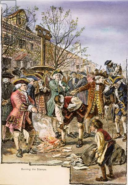 NEW YORK: STAMP ACT, 1765 New Yorkers protesting the Stamp Act by burning stamps in a bonfire: coloured  engraving, 19th century.