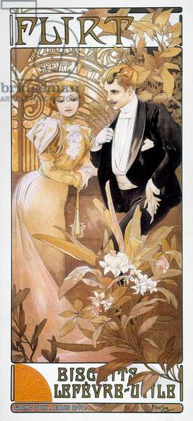 MUCHA: BISCUIT AD, c.1895 'Flirt.' French lithograph advertisement, c.1895, by Alphonse Mucha for Biscuits Lefevre-Utile.