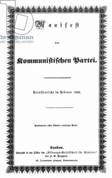 COMMUNIST MANIFESTO. Wrapper of the first edition of Karl Marx's and Friedrich Engel's 'The Communist Manifesto,' London, 1848.