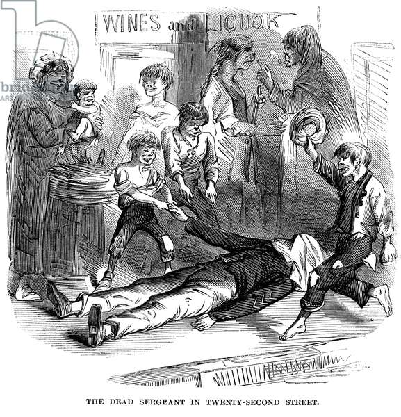 NEW YORK: DRAFT RIOTS 1863 A dead sergeant on 22nd Street during the New York City Draft Riots of 13-16 July 1863: wood engraving from a contemporary American newspaper.