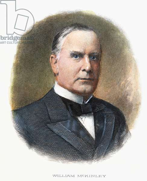 WILLIAM McKINLEY (1843-1901): contemporary coloured  engraving.