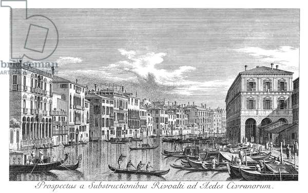 VENICE: GRAND CANAL, 1735 The Grand Canal in Venice, Italy, looking south-east from the Palazzo Michiel dalle Colonne to the Fondaco dei Tedeschi. Engraving, 1735, by Antonio Visentini after Canaletto.