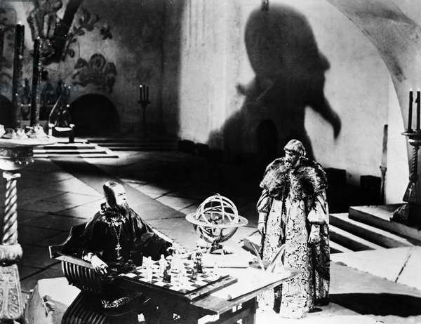 FILM: IVAN THE TERRIBLE Nikolai Cherkasov, seated, as Zsar Ivan IV of Russia in Sergei Eisenstein's film 'Ivan the Terrible' made during World War II.