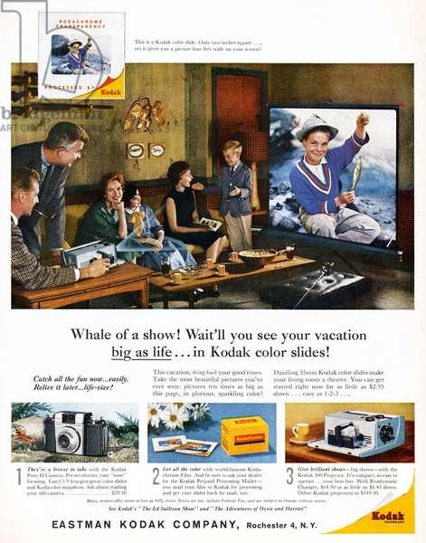 AD: KODAK, 1959 American advertisement for Kodak color slides, 1959.