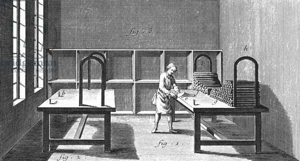 TOBACCO, 18TH CENTURY A worker paring off the ends of snuff ropes. Copper engraving from 'L'Encyclopedie' of Denis Diderot, 18th century.