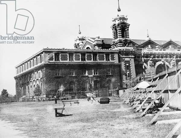 ELLIS ISLAND: DETAINEES Recreational lawn for enemy foreign detainees, held at Ellis Island during and after World War II. Photograph, c.1945.