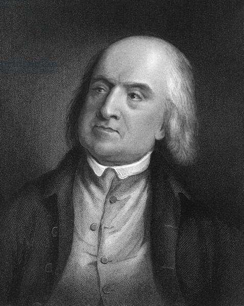 JEREMY BENTHAM (1748-1832) English jurist and philosopher. Line and stipple engraving, English, 1846.