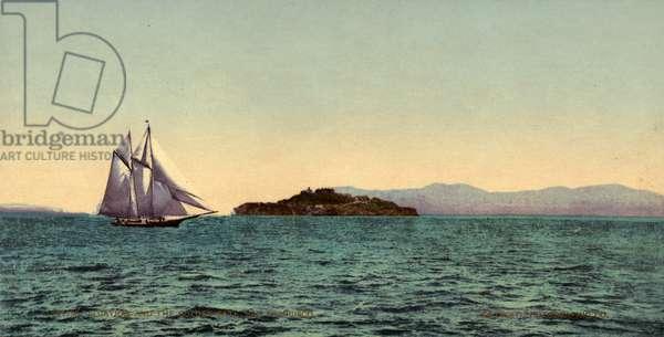 ALCATRAZ ISLAND, c.1900 A view of Alcatraz Island and the Golden Gate strait, off the coast of San Francisco, California. Photochrome, c.1900.