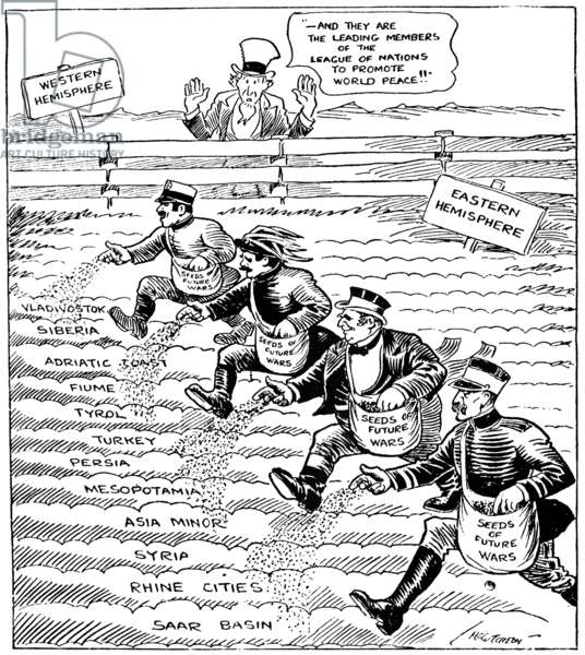 CARTOON: LEAGUE OF NATIONS, 1920. Cartoon for the 'Chicago Tribune' critical of the members of the League of Nations for failing to uphold their mandate to promote world peace and instead sowing the seeds of war. Cartoon by John T. McCutcheon, April 1920.